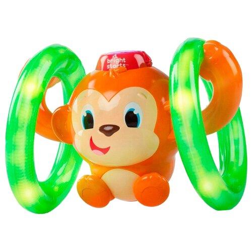 цена на Интерактивная развивающая игрушка Bright Starts Музыкальная обезьянка на кольцах оранжевый/зеленый