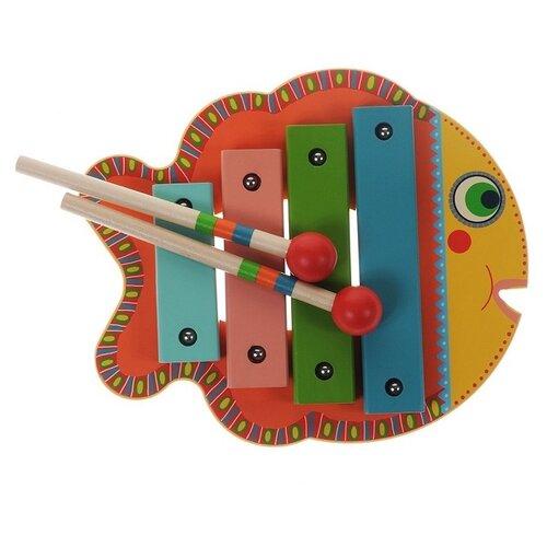 цена на DJECO ксилофон Animambo Рыбка 06001 красный/зеленый/желтый