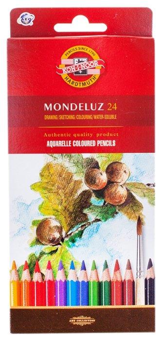 Карандаши акварельные Koh-I-Noor Mondeluz, 24 цветн., заточен., картон