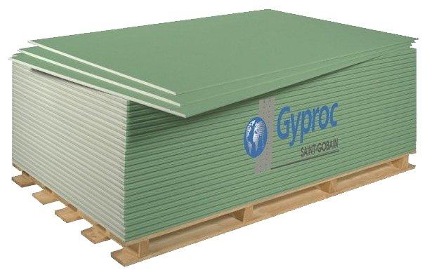 Гипсокартонный лист (ГКЛ) Gyproc ГСП-DFH3 огне-влагостойкий 2500х1200х12.5мм
