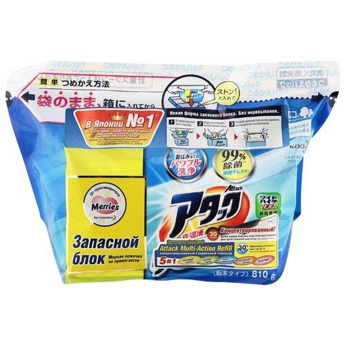 Стиральный порошок Attack Multi-Action пластиковый пакет 0.81 кг