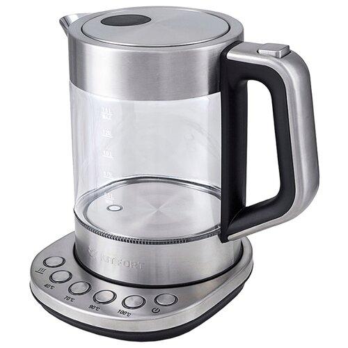 Фото - Чайник Kitfort KT-616, серебристый/черный чайник kitfort kt 616