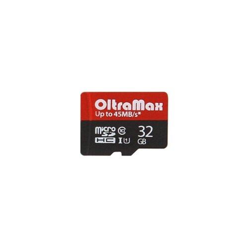 Фото - Карта памяти OltraMax microSDHC Class 10 UHS-1 45MB/s + SD adapter 32 GB, чтение: 45 MB/s, адаптер на SD карта памяти leef pro microsdhc class 10 uhs i u1 sd adapter 8 gb чтение 45 mb s адаптер на sd