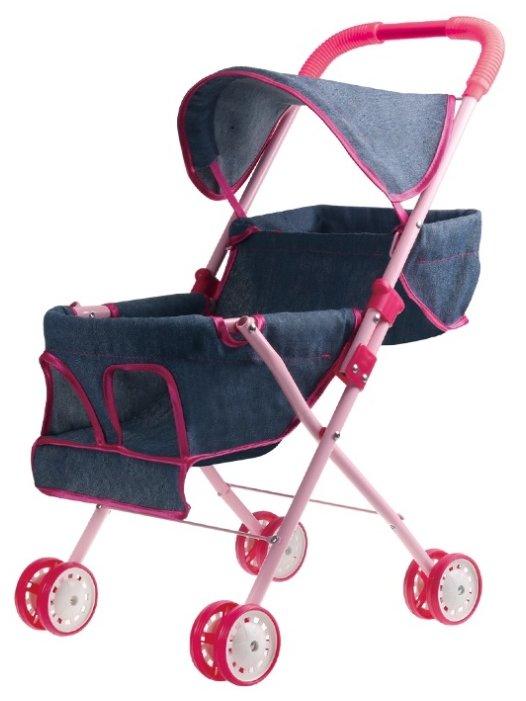 Прогулочная коляска 1 TOY Красотка-Джинс для 2 кукол Т10384