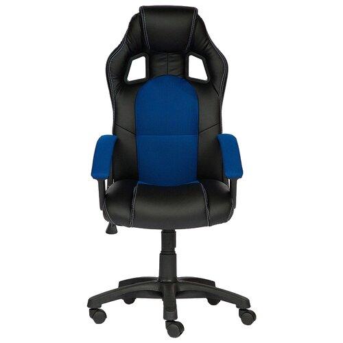 Компьютерное кресло TetChair Драйвер, обивка: текстиль/искусственная кожа, цвет: черный/синий кресло компьютерное tetchair оксфорд oxford доступные цвета обивки искусств корич кожа искусств корич перфор кожа