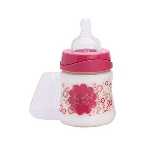 Купить Suavinex Бутылочка полипропиленовая с силиконовой круглой соской Haute Couture 150 мл Цветы с рождения, фуксия, Бутылочки и ниблеры