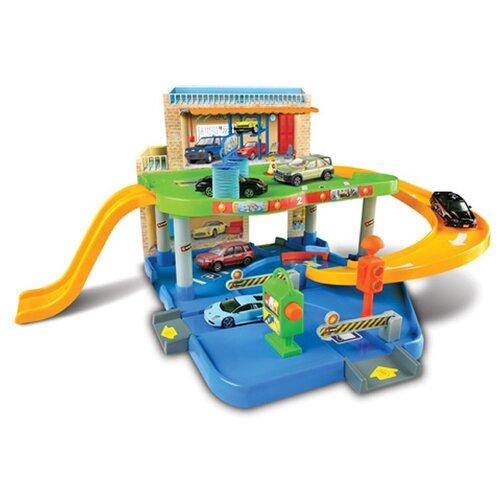 Bburago Игровой набор Street Fire Auto Service парковка, заправка, мойка, сервис 1830039 оранжевый/голубой/зеленый
