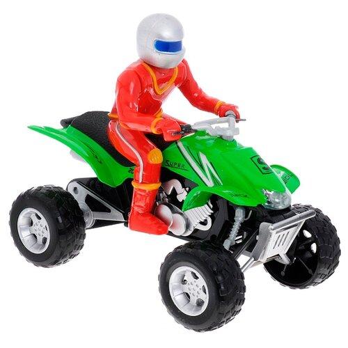 Купить Квадроцикл ТЕХНОПАРК с фигуркой (FY886-F) 1:32 18 см зеленый, Машинки и техника