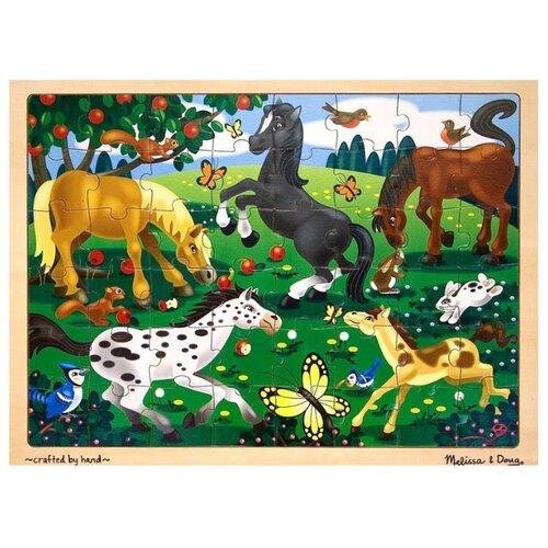 Купить Рамка-вкладыш Melissa & Doug Резвые лошади (3801), 48 дет., Пазлы