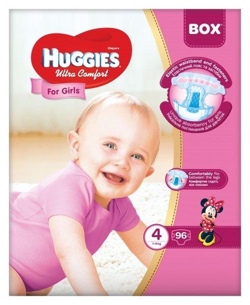 Huggies подгузники Ultra Comfort для девочек 4 (7-16 кг) 96 шт.