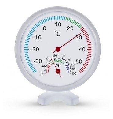 Термометр Стеклоприбор Качество жизни ТГК-2, от -30 до +50C, влажность 20-100%, круглый, подставка, пластик