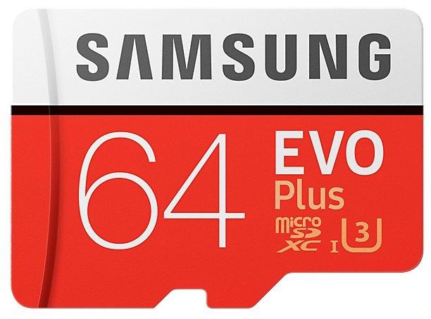 Samsung Microsdxc 64Gb Evo Plus V2 Uhs-I U3 + Sd Adapter (R100/w60Mb/s) (Mb-Mc64Ga/ru)