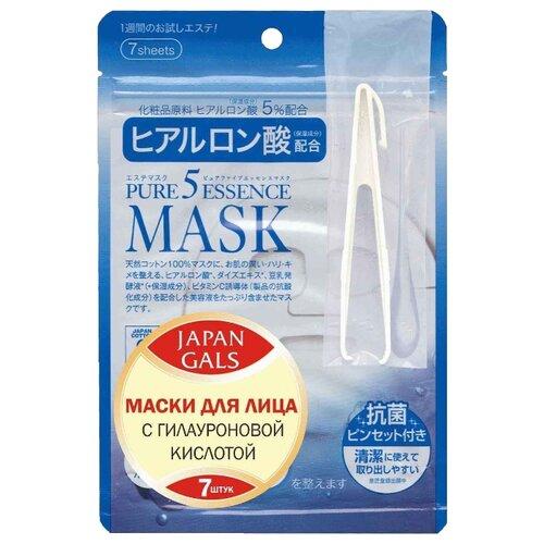 Japan Gals маска Pure 5 Essence с гиалуроновой кислотой, 7 шт. japan gals маска pure 5 essence с гиалуроновой кислотой 7 шт