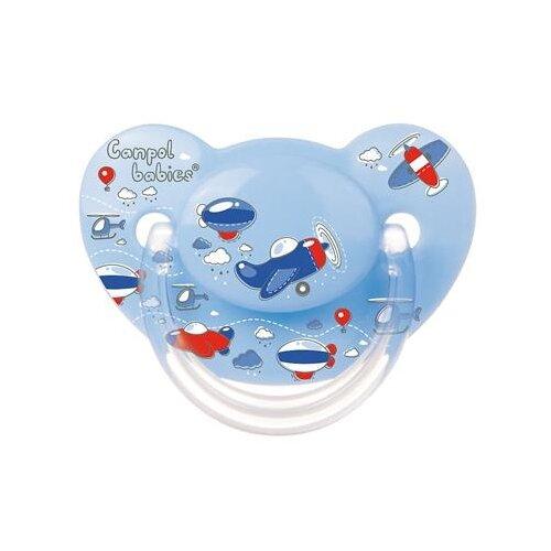 Купить Пустышка силиконовая ортодонтическая Canpol Babies Machines 6-18 м (1 шт.) голубой, Пустышки и аксессуары