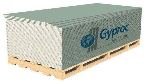 Гипсокартонный лист (ГКЛ) Gyproc Аква Оптима Лонг влагостойкий 3000х1200х12.5мм