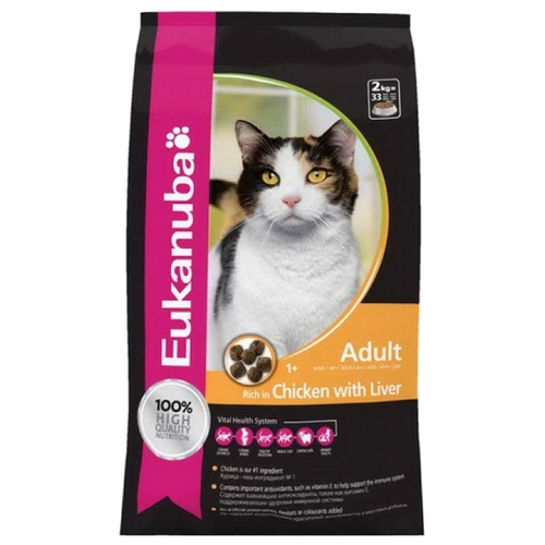 Корм для кошек Eukanuba (2 кг) Adult Dry Cat Food Chicken & Liver
