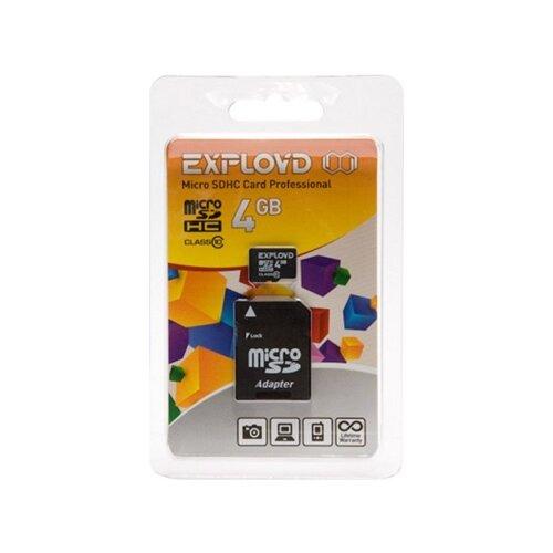 Фото - Карта памяти EXPLOYD microSDHC Class 10 + SD adapter 4 GB, адаптер на SD карта памяти qumo microsdhc class 10 sd adapter 32 gb адаптер на sd