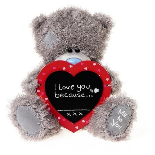 Мягкая игрушка Me to you Мишка Тедди с сердцем I love you because 25 см