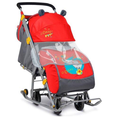 Санки-коляска Nika Ника Детям 7 (НД-7) красный с девочкой и слоном