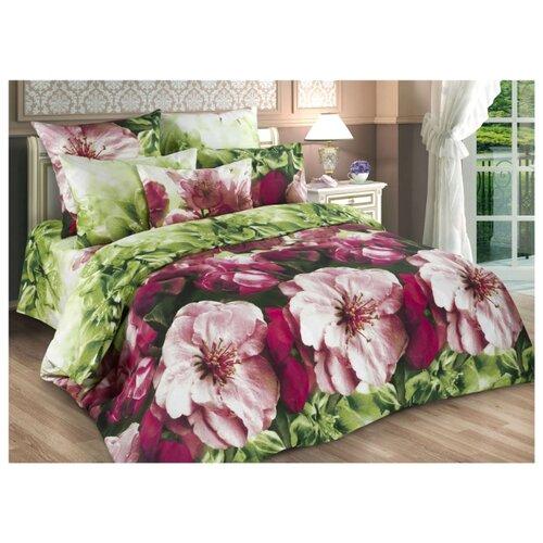 Постельное белье евростандарт Диана-Текс Весенние цветы 4259-2 бязь зеленый/розовый