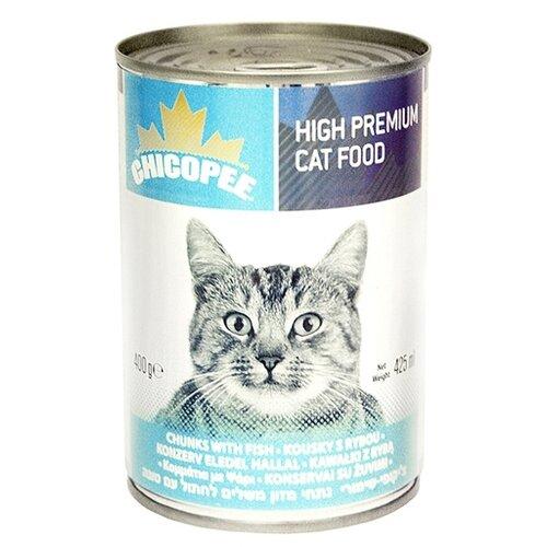 Влажный корм для кошек Chicopee 1 шт. Консервы для кошек: мясные кусочки с рыбой 0.4 кг 400 г