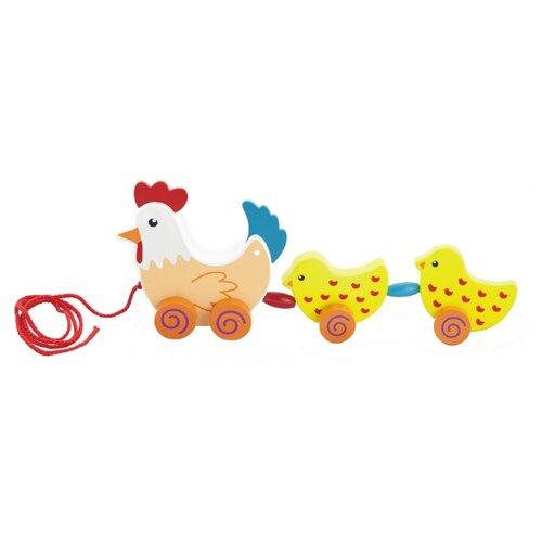 Купить Каталка-игрушка Viga Курочка с цыплятами (50078) желтый/оранжевый/красный, Каталки и качалки