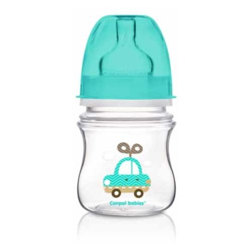 Купить Canpol Babies Бутылочка антиколиковая с широким горлом 120 мл Игрушки с рождения, бирюзовый, Бутылочки и ниблеры
