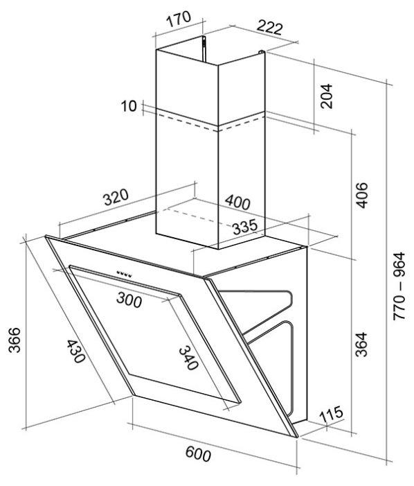Каминная вытяжка Shindo OSTARIA sensor 60 SS/BG