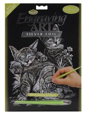 Гравюра Royal & Langnickel Кошка с котятами (SILF13) серебристая основа
