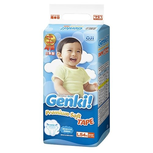 Купить Genki подгузники Premium Soft L (9-14 кг) 54 шт., Подгузники