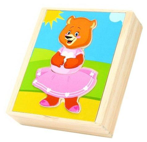 Рамка-вкладыш Мир деревянных игрушек Медвежонок Катя (Д181а), 18 дет.