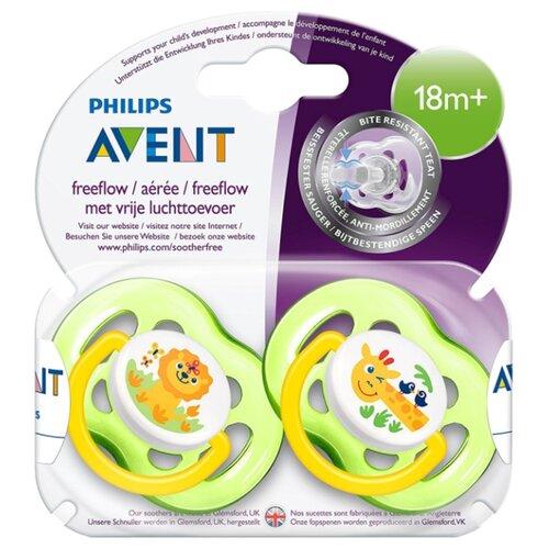 Купить Пустышка силиконовая анатомическая Philips AVENT Freeflow SCF186/23 18+ (2 шт) зеленый/желтый, Пустышки и аксессуары
