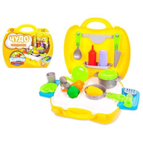 Купить Кухня ABtoys Чудо-чемоданчик PT-00458 желтый/голубой/зеленый/серый/белый, Детские кухни и бытовая техника