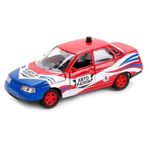 Купить Легковой автомобиль ТЕХНОПАРК Lada 2110 Авторалли (CT10-110-12) 1:43 белый/красный/синий, Машинки и техника