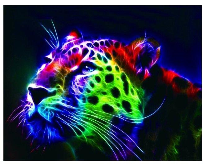 Цветной Набор алмазной вышивки Неоновый леопард (LG015) 40х50 см