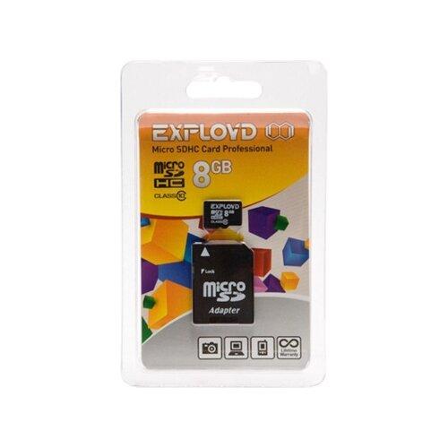 Фото - Карта памяти EXPLOYD microSDHC Class 10 + SD adapter 8 GB, адаптер на SD карта памяти qumo microsdhc class 10 sd adapter 32 gb адаптер на sd