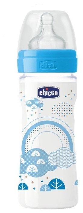 Chicco Бутылочка с соской из силикона Well-Being, средний поток, 250 мл с 2 мес.
