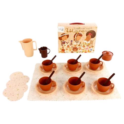 Набор посуды Росигрушка Шокко 86425-ПП коричневый/бежевый росигрушка набор игрушечной посуды первый блин