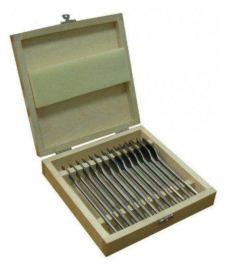 Набор сверл для дерева 13 шт (6-25х152) перовое деревянная коробка Энкор 19117