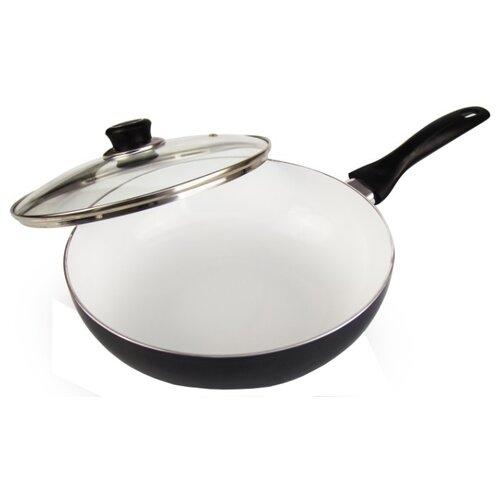 Сковорода-вок Galaxy GL 9824 24 см с крышкой, черный/белый недорого