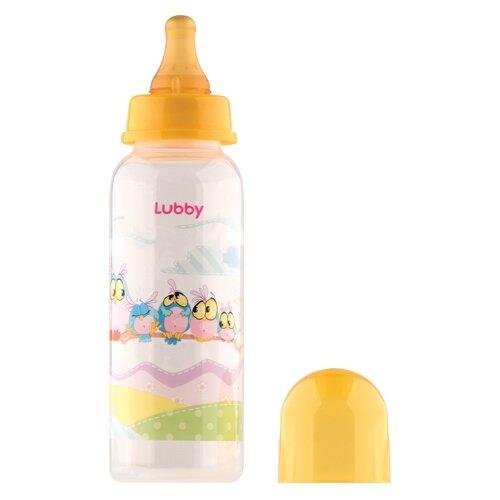 lubby бутылочка с соской малышарики 125 мл с рождения желтый Lubby Бутылочка с соской Весёлые животные, 250 мл с рождения, в ассортименте