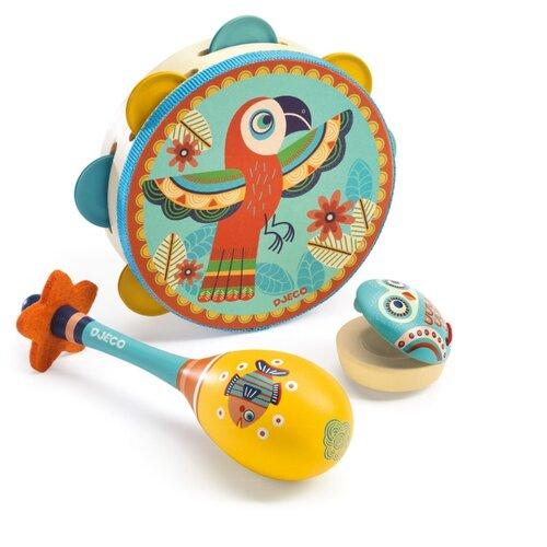 DJECO набор инструментов Animambo 06016 синий/желтый/красный djeco маракас animambo