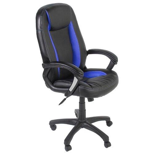 цена на Компьютерное кресло TetChair Бриндиси, обивка: искусственная кожа, цвет: черный/синий