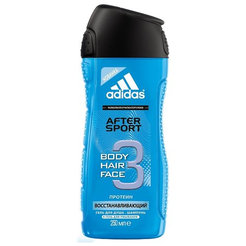 Гель для душа 3 в 1 Adidas After sport для мужчин, 250 мл adidas гель для душа шампунь и гель для умывания body hair face after sport мужской 250 мл