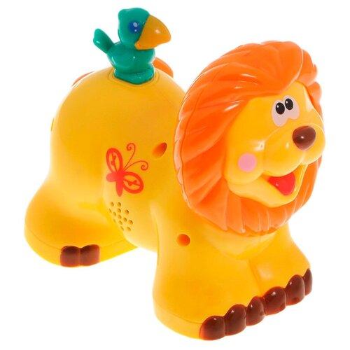 Купить Каталка-игрушка Kiddieland Львенок (051706) со звуковыми эффектами желтый/оранжевый, Каталки и качалки