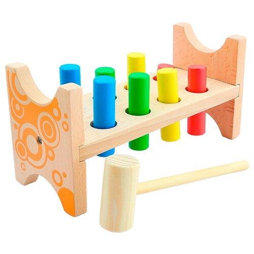 Стучалка Мир деревянных игрушек Гвозди-перевертыши бежевый/оранжевый бизиборд мир деревянных игрушек