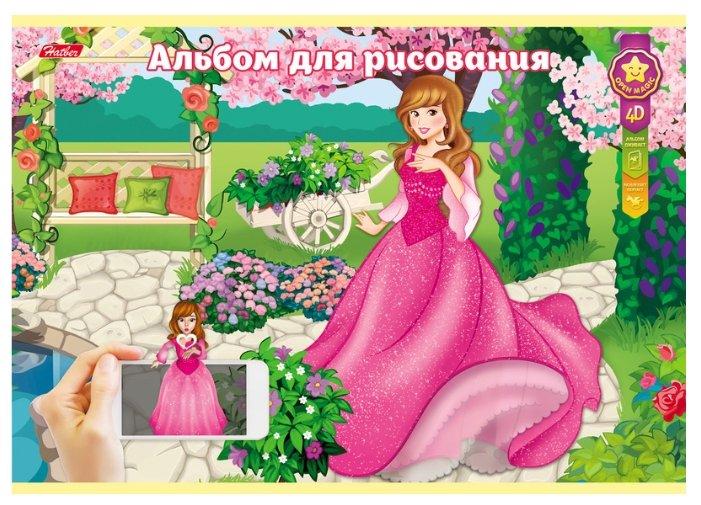 Альбом для рисования Hatber 4D Принцессы 29.7 х 21 см (A4), 100 г/м², 24 л.