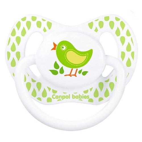 Пустышка силиконовая ортодонтическая Canpol Babies Summertime 0-6 м (1 шт.) белый/птичка