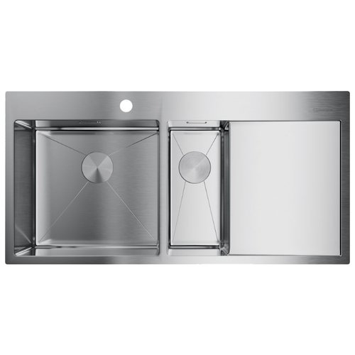 Интегрированная кухонная мойка 100 см OMOIKIRI Akisame 100-2-IN-L нержавеющая сталь