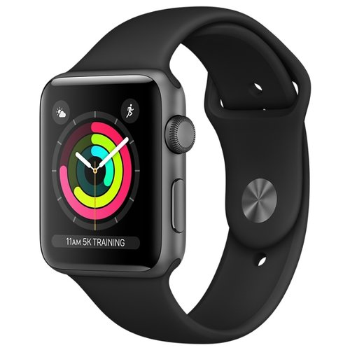 Часы Apple Watch Series 3 38mm Aluminum Case with Sport Band серый космос/черный часы apple watch series 5 gps 40mm aluminum case with nike sport band серебристый чистая платина черный